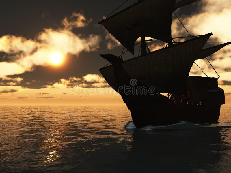 Bateau de navigation au coucher du soleil illustration de vecteur