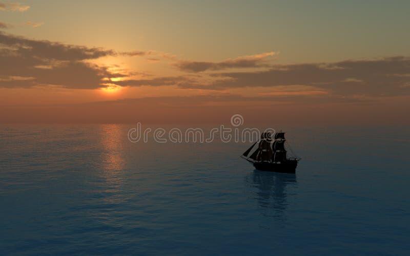 Bateau de navigation au coucher du soleil illustration stock