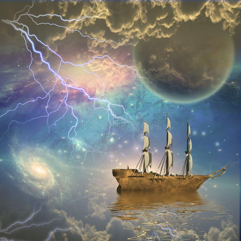 Bateau de navigation dans la scène fantastique illustration libre de droits