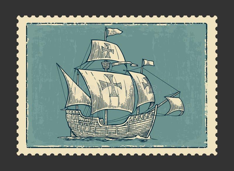 Bateau de navigation flottant sur les vagues de mer Caravelle Santa Maria avec Columbus Élément tiré par la main de conception Ve illustration libre de droits