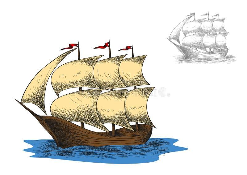 Bateau de navigation mâté de barque de l'antiquité trois illustration de vecteur