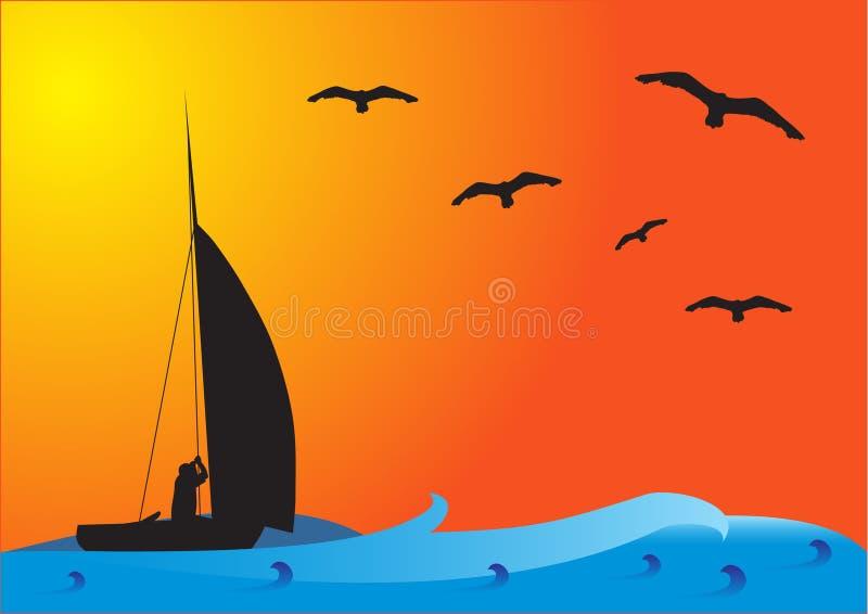 Bateau de pêche au coucher du soleil illustration libre de droits