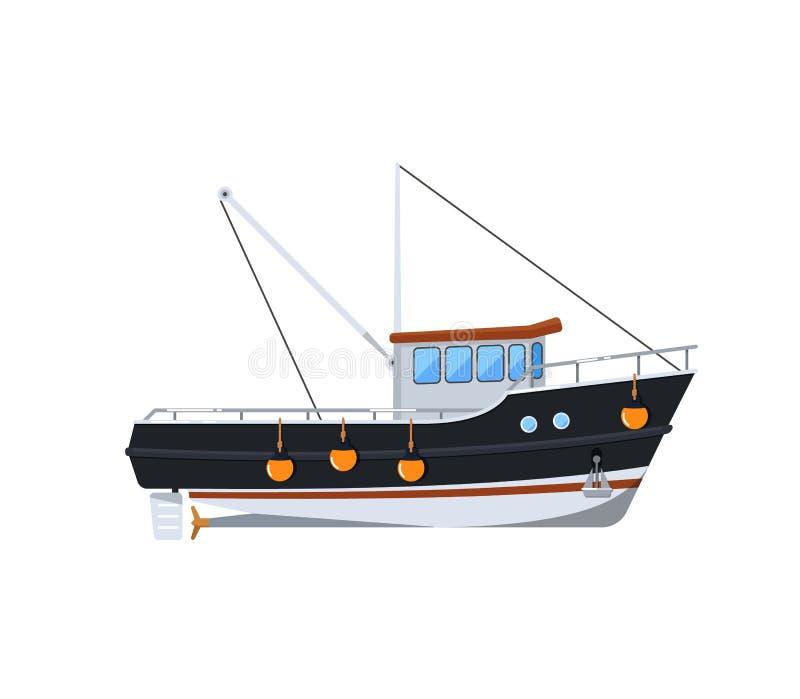 Bateau de pêche d'isolement sur l'icône blanche illustration libre de droits