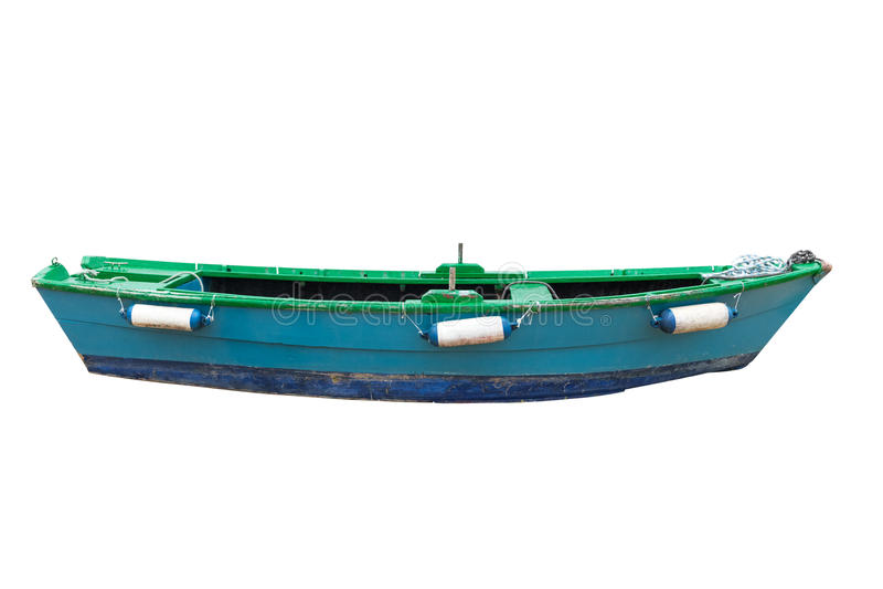 Bateau de pêche d'isolement sur le fond blanc photos libres de droits