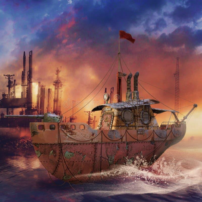 Bateau de pêche de Steampunk illustration stock