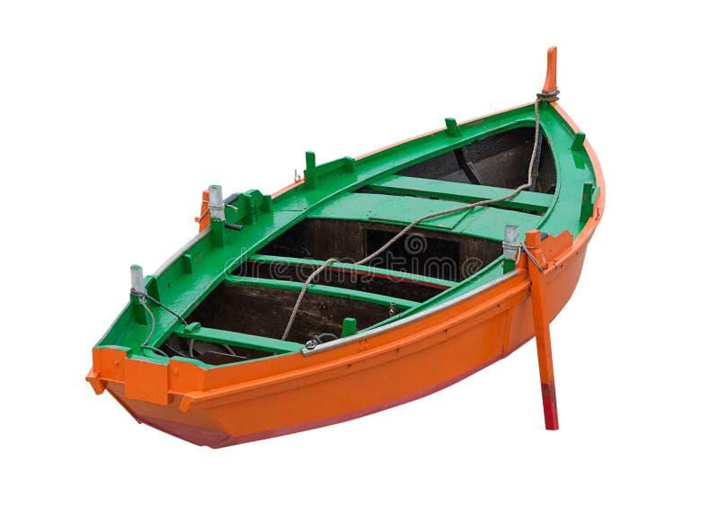 Bateau de pêche en bois d'isolement sur le fond blanc photos libres de droits
