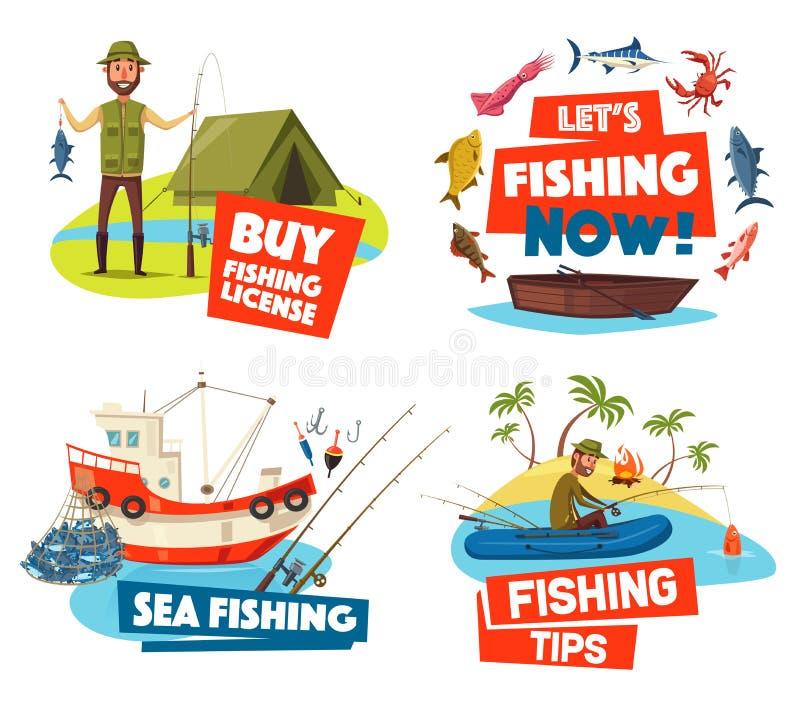 Bateau de pêche, filet et pêcheur, bateau, poisson, tige illustration stock