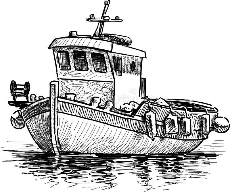 Bateau de pêche grec illustration de vecteur