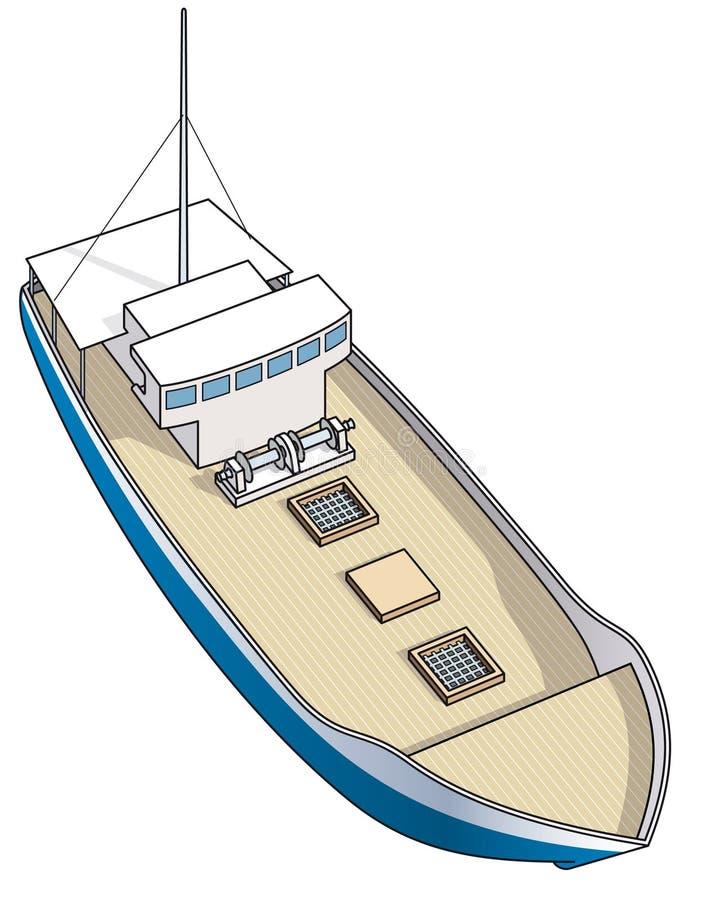 Bateau de pêche isométrique pour la langouste illustration libre de droits
