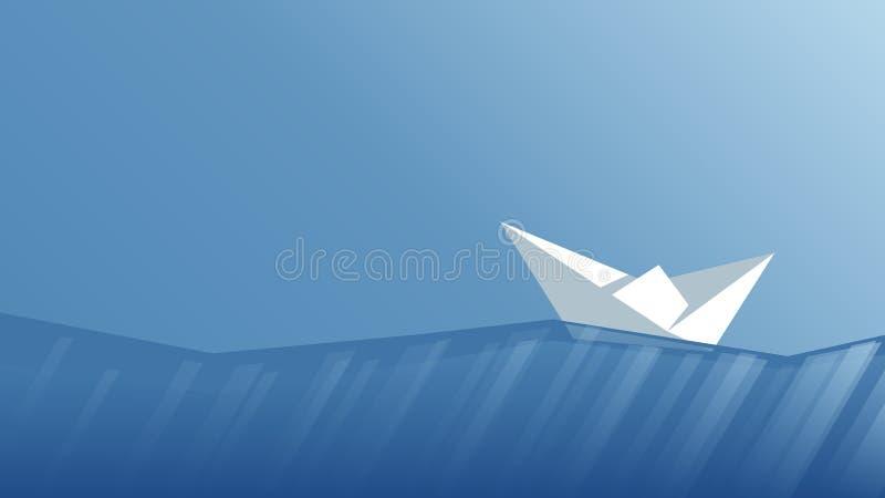 Bateau de papier de vecteur illustration stock