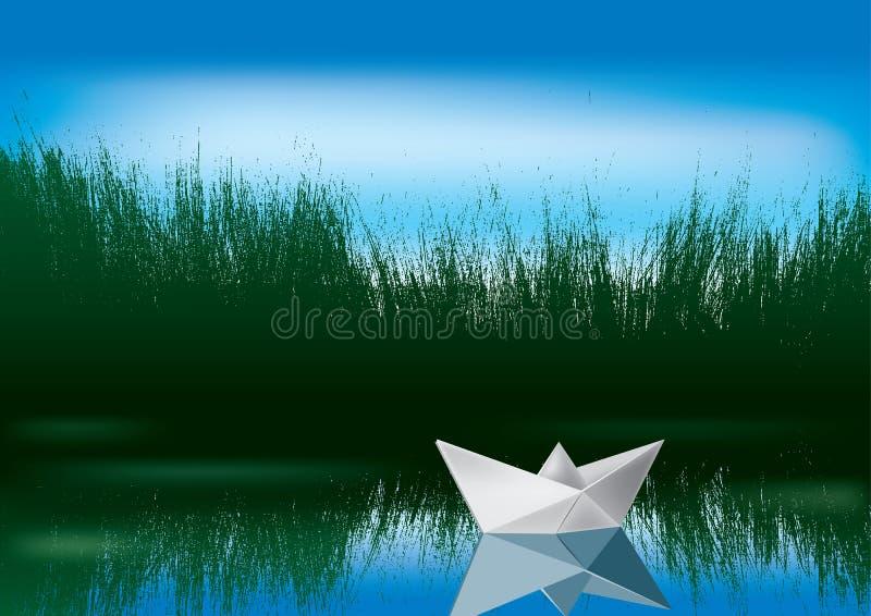 Bateau de papier sur l'eau illustration libre de droits