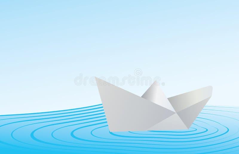 Bateau de papier sur l'eau bleue illustration libre de droits