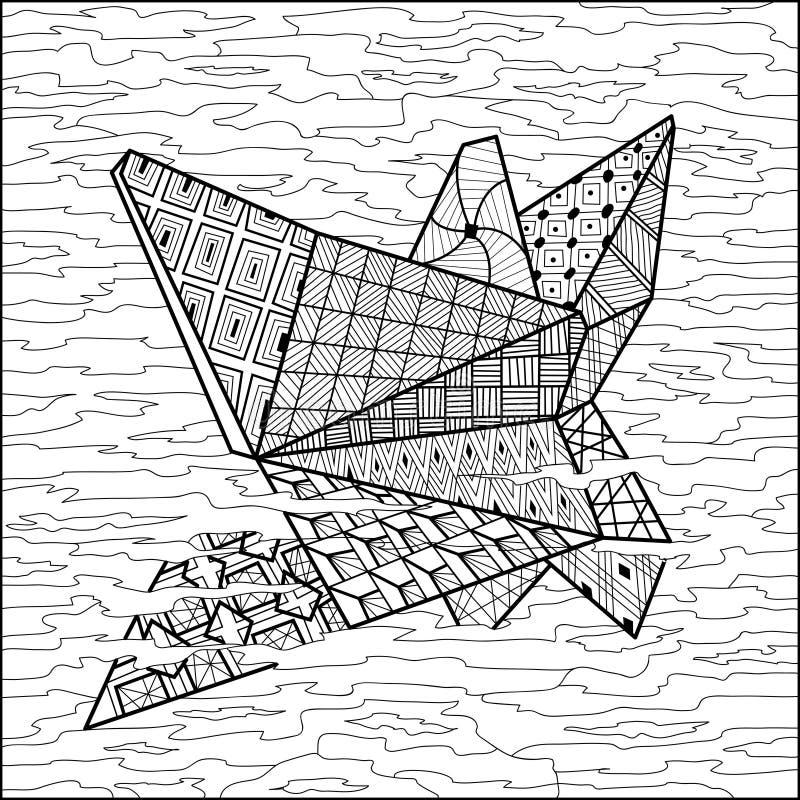 Bateau de papier sur le vecteur de livre de coloriage de l'eau illustration libre de droits
