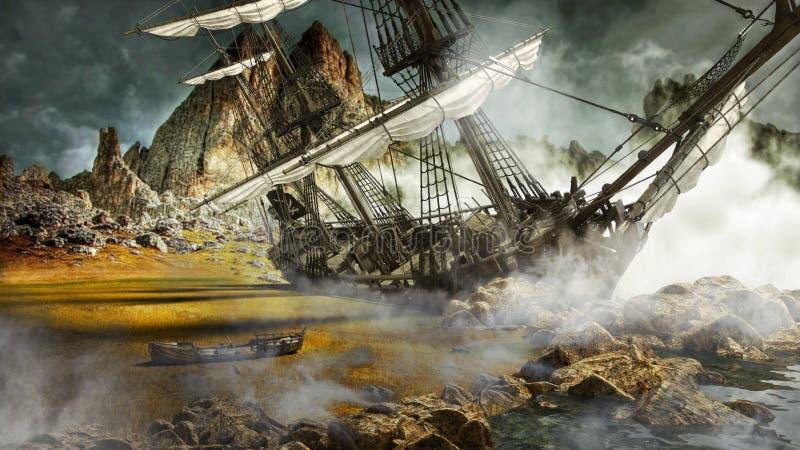 Bateau de pirate échoué dans une terre scénique mystique illustration de vecteur