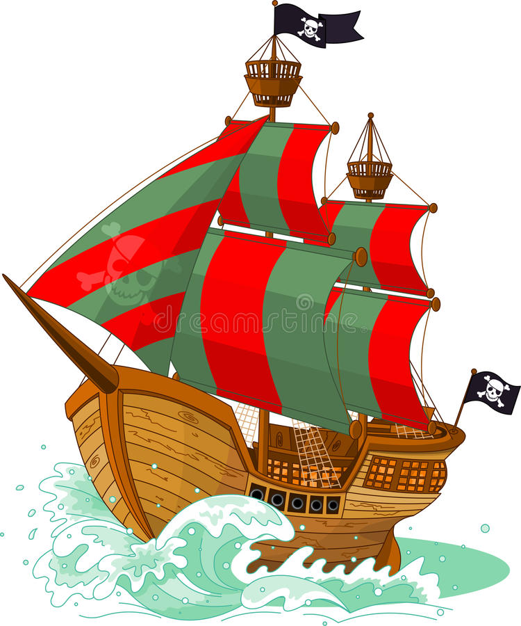 Bateau de pirate illustration de vecteur