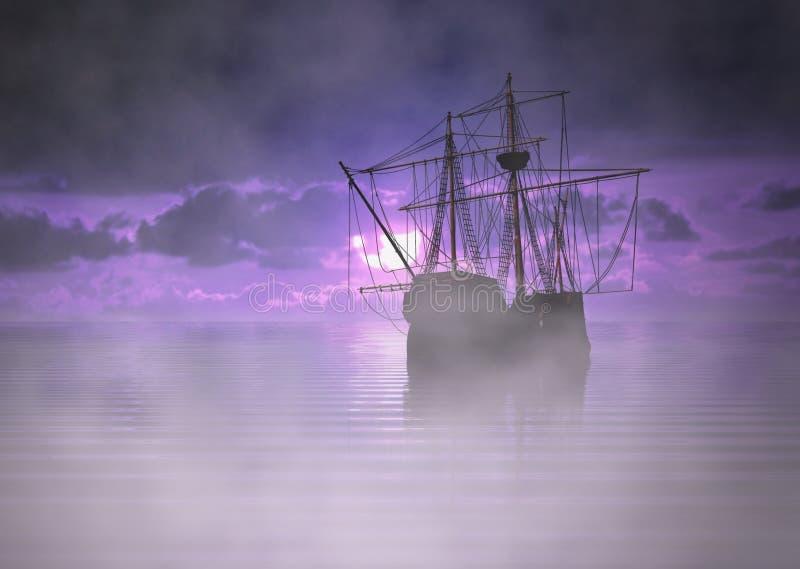 Bateau de pirate au lever de soleil avec le brouillard illustration de vecteur