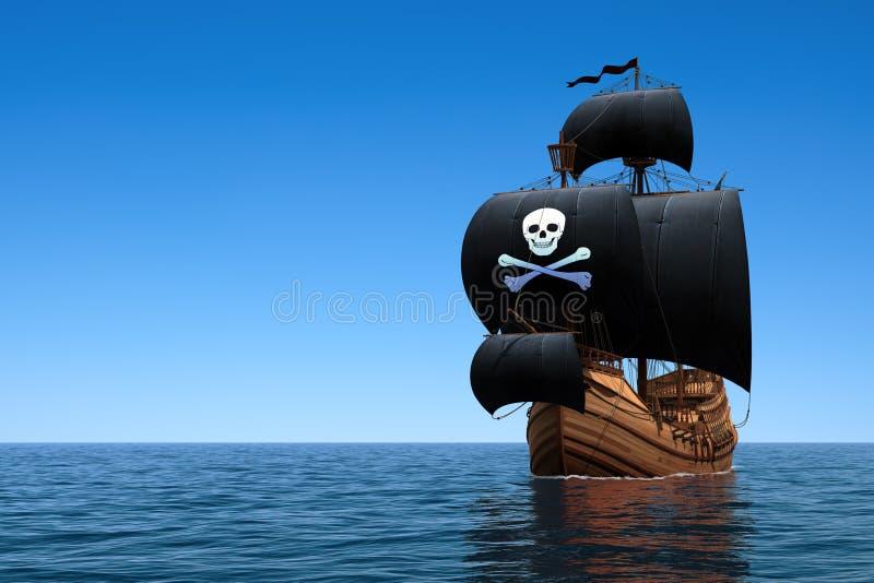 Bateau de pirate dans l'océan bleu illustration de vecteur
