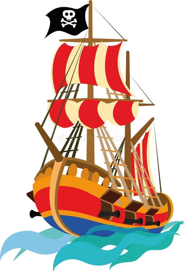 Bateau de pirate drôle illustration stock