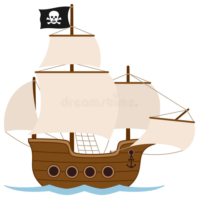 Bateau de pirate ou bateau à voile illustration de vecteur