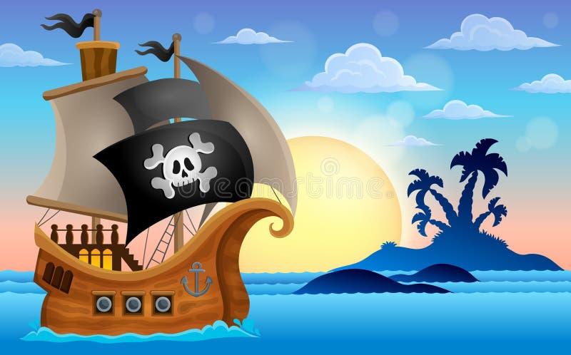 Bateau de pirate près de la petite île 4 illustration stock
