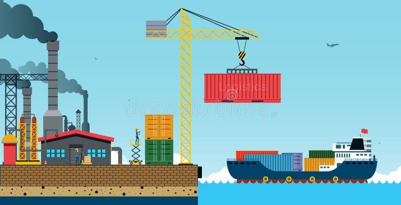 bateau de port de Hambourg de cargaison d'activités illustration libre de droits