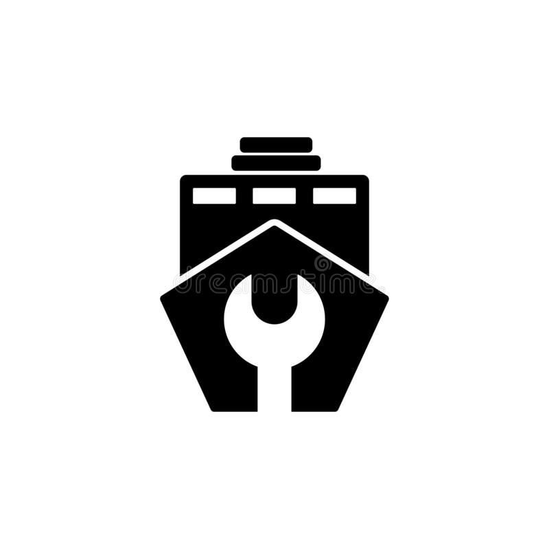 Bateau de réparation, icône de clé Élément d'icône de réparation pour des applis mobiles de concept et de Web Le bateau de répara illustration libre de droits