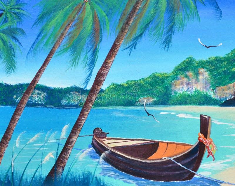 Bateau de rangée sur la peinture à l'huile de plage sur la toile illustration stock