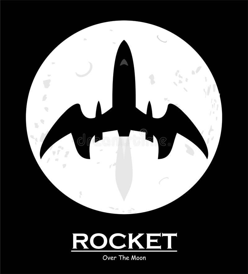 Bateau de Rocket au-dessus de la pleine lune Vaisseau spatial à travers la lune illustration de vecteur