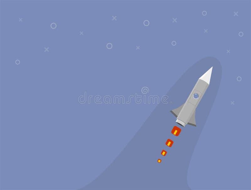 Bateau de Rocket dans un style plat Lancement de fus?e d'espace avec les nuages de fum?e plats ? la mode de style Le projet comme image libre de droits