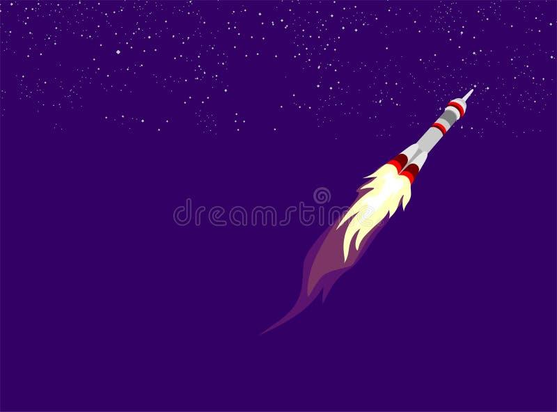 Bateau de Rocket dans un style plat Lancement de fus?e d'espace avec les nuages de fum?e plats ? la mode de style Le projet comme images stock