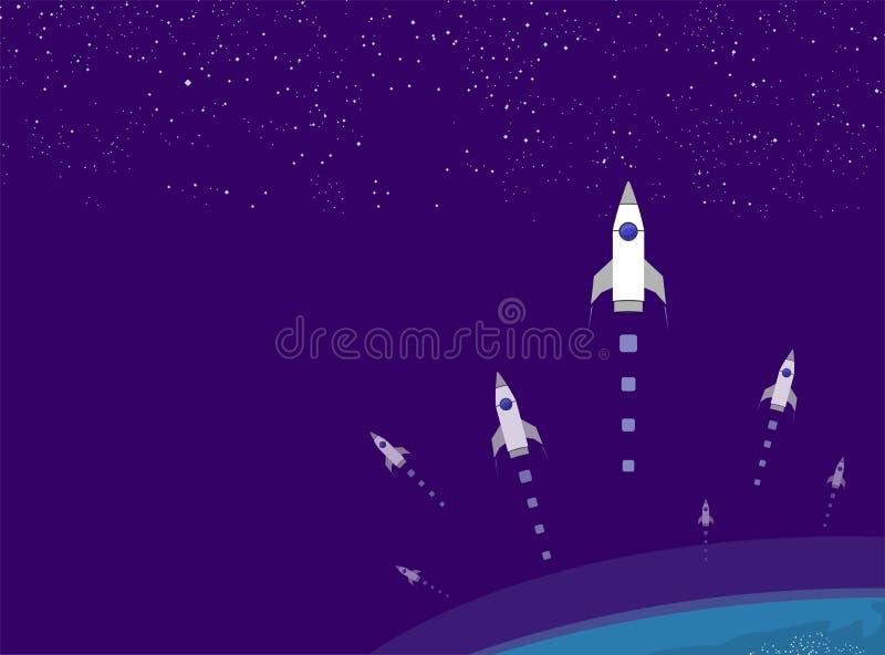 Bateau de Rocket dans un style plat Lancement de fus?e d'espace avec les nuages de fum?e plats ? la mode de style Le projet comme photographie stock
