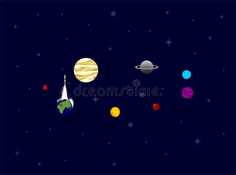 Bateau de Rocket dans un style plat Systèmes withsolar de lancement de fusée d'espace Le projet commencent  Illustration de vecte images stock