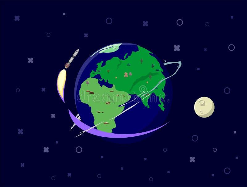 Bateau de Rocket dans un style plat Systèmes withsolar de lancement de fusée d'espace Le projet commencent  Illustration de vecte photographie stock libre de droits
