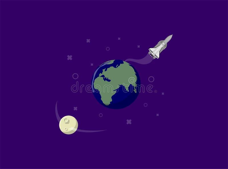 Bateau de Rocket dans un style plat Systèmes withsolar de lancement de fusée d'espace Le projet commencent  Illustration de vecte photos libres de droits