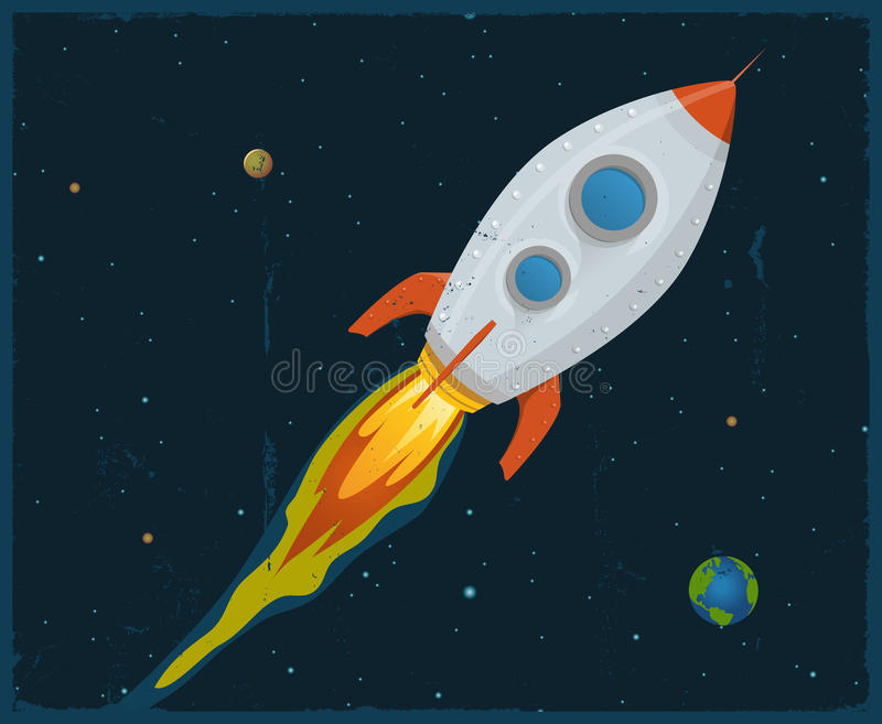 Bateau de Rocket soufflant par l'espace illustration stock