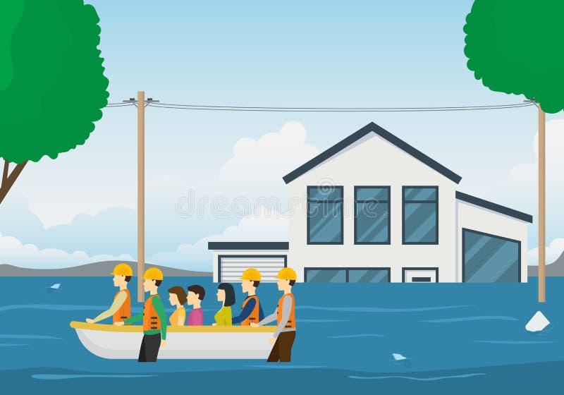 Bateau de sauvetage Team Card Background de bande dessinée Vecteur illustration stock