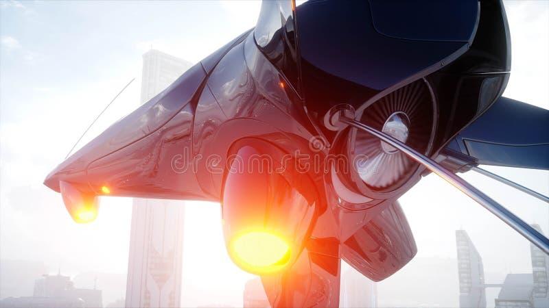 Bateau de Sci fi au-dessus de ville futuriste de brouillard Silhouette d'homme se recroquevillant d'affaires Concept d'avenir ren illustration de vecteur