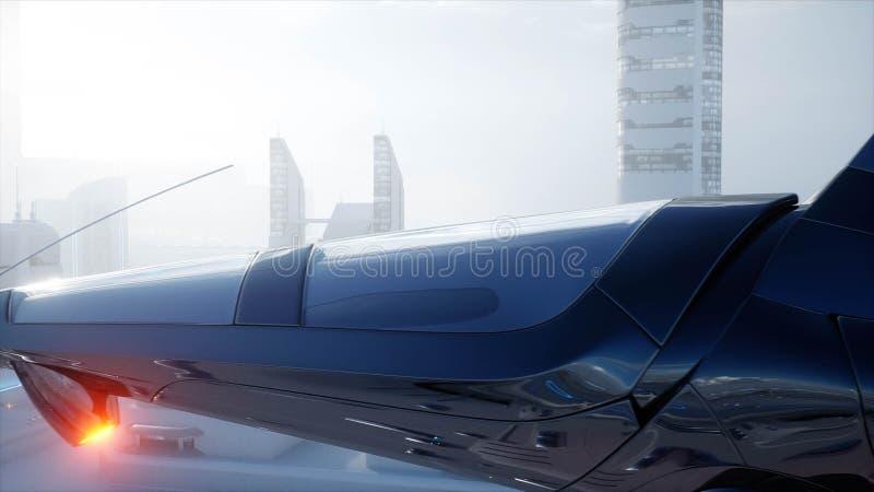Bateau de Sci fi au-dessus de ville futuriste de brouillard Silhouette d'homme se recroquevillant d'affaires Concept d'avenir ren illustration stock