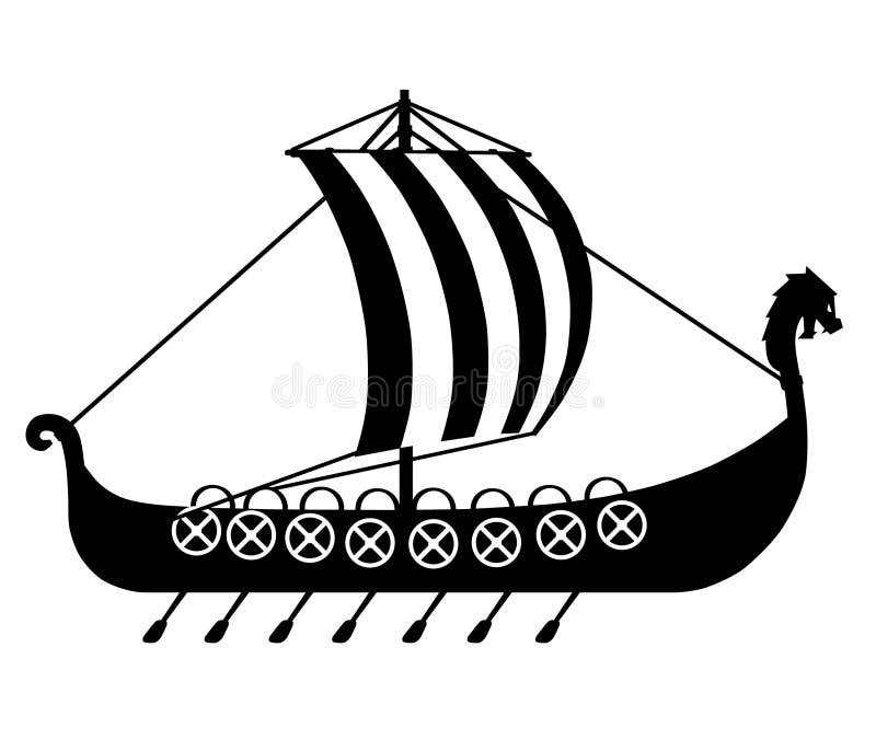 Bateau de Viking tiré par la main, vecteur, ENV, logo, icône, illustration de silhouette par des crafteroks pour différents usage illustration de vecteur