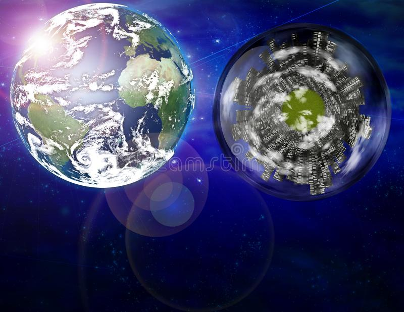Bateau de ville et terre de planète illustration de vecteur