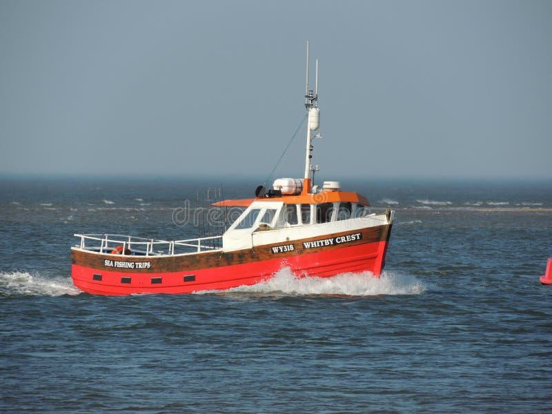 Bateau de voyage de pêche maritime de la Norfolk retournant au port images libres de droits