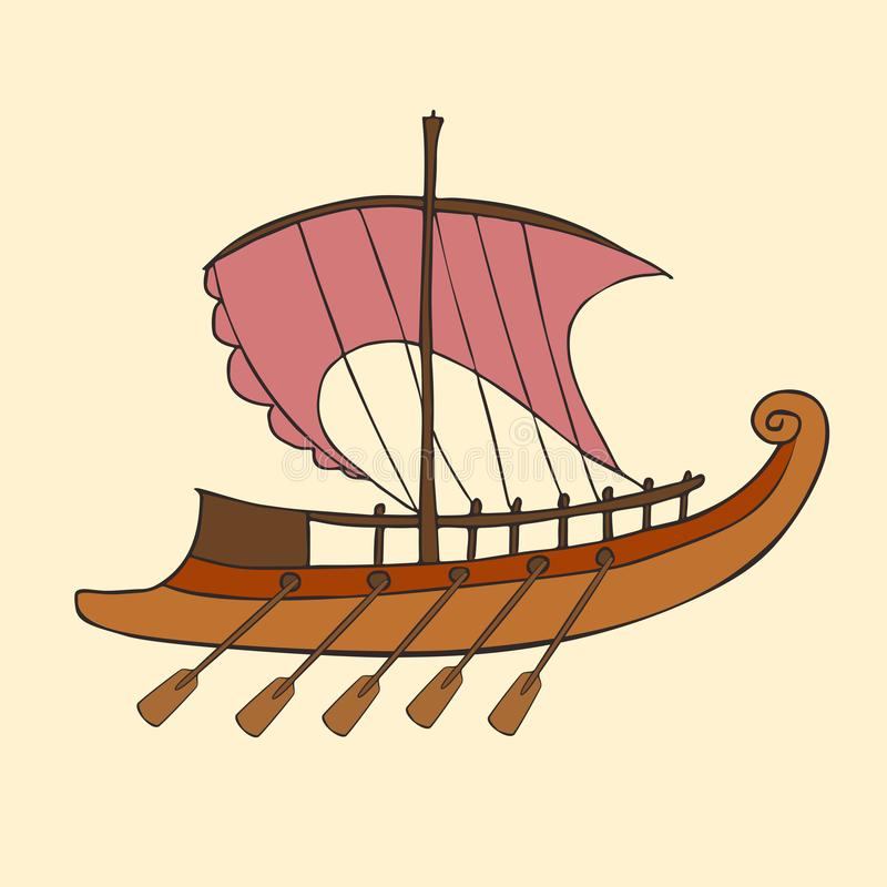 Bateau du grec ancien de bande dessinée illustration stock