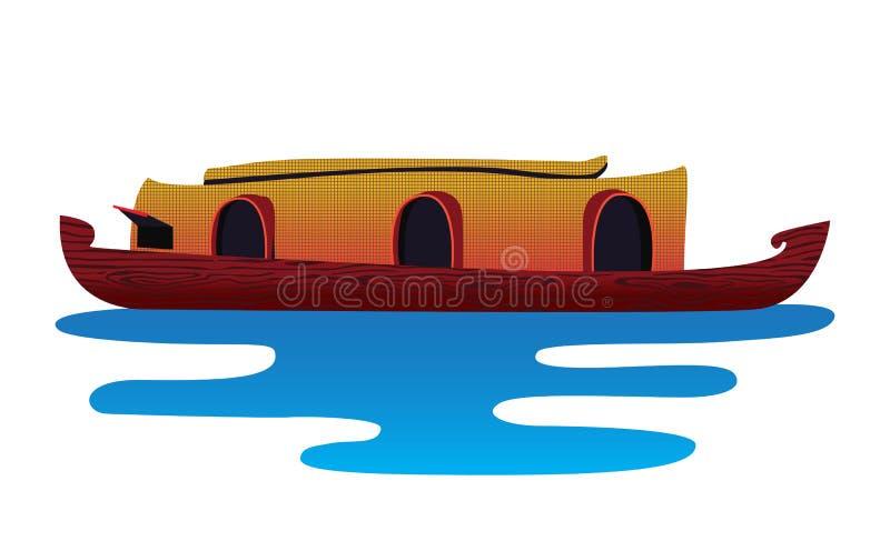 Bateau du Kerala dans l'eau d'isolement illustration stock