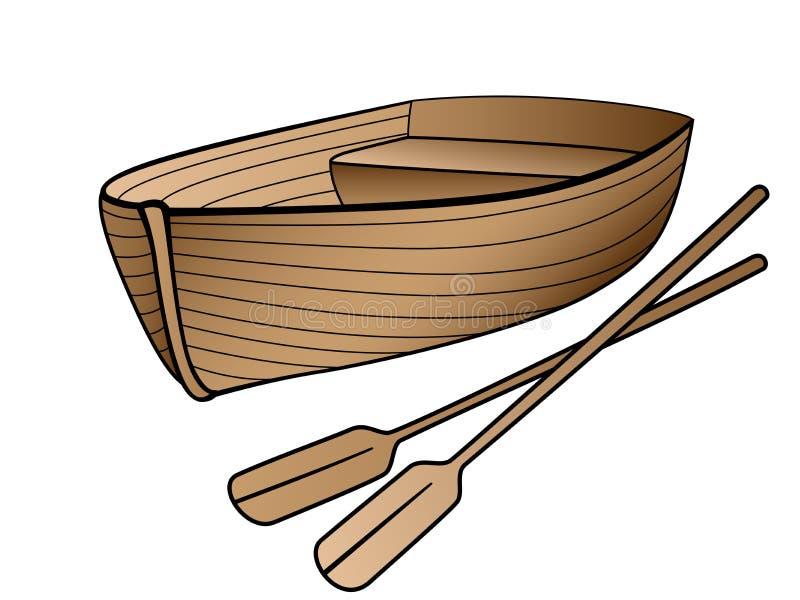 Bateau en bois avec des avirons Bateau ? rames pour les promenades romantiques sur le lac ou la mer Canot de sauvetage fait de bo illustration libre de droits