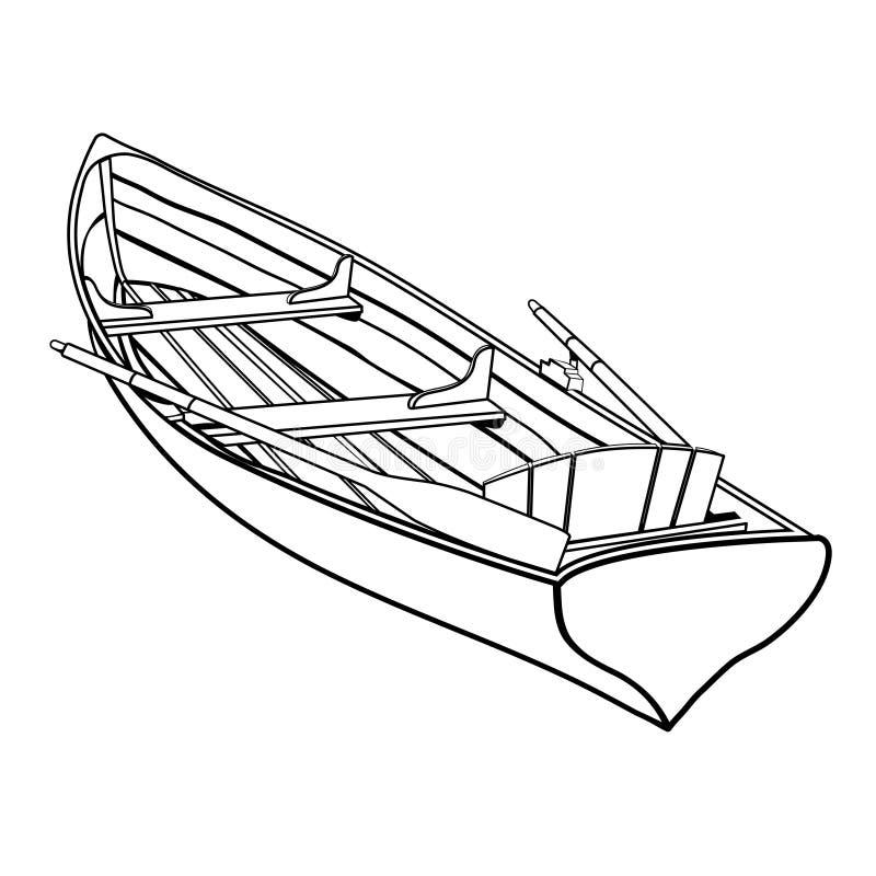 Bateau en bois avec le dessin d'ensemble d'avirons, croquis de coloration, photo graphique monochrome, illustration noire et blan illustration libre de droits