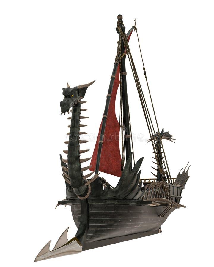 Bateau en bois de dragon à un arrière-plan blanc illustration libre de droits