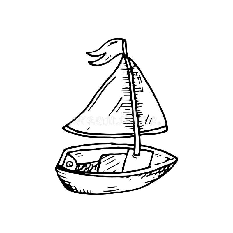 Bateau en bois tiré par la main avec le griffonnage de voile et de drapeau Icône de style de croquis Élément de décoration D'isol illustration libre de droits