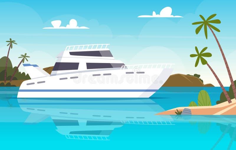Bateau en mer Les bateaux de pêche immergent le fond de vecteur de yacht ou de navire d'océan de coucher du soleil illustration stock
