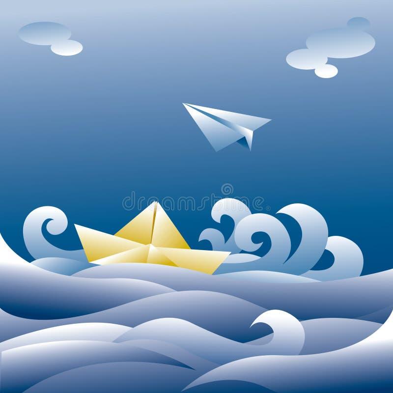 Bateau et avion de papier illustration de vecteur