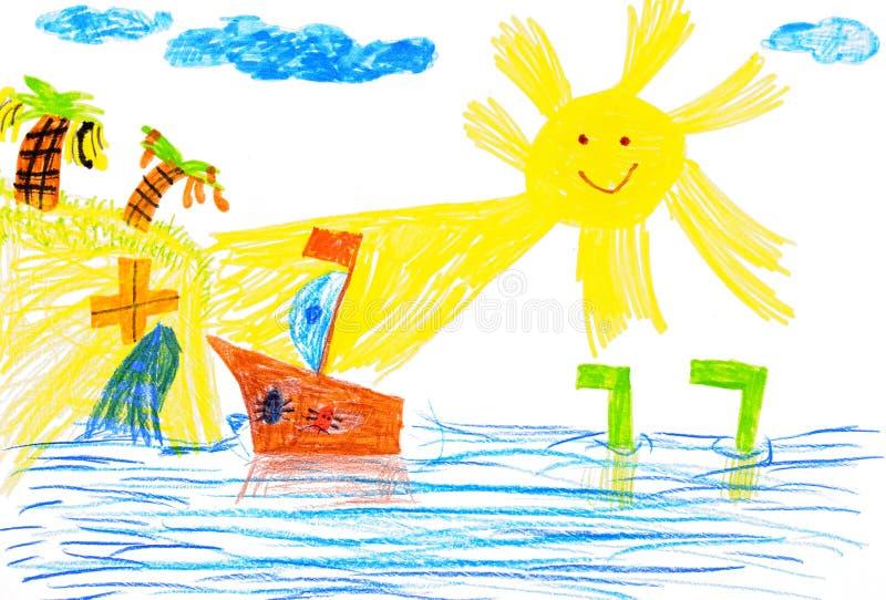 Bateau et mer. le retrait des enfants. illustration libre de droits
